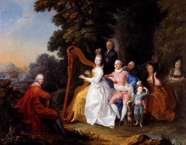 An Elegant Party In The Countryside With A Lady Playing The Harp And A Gentleman Playing The Guitar